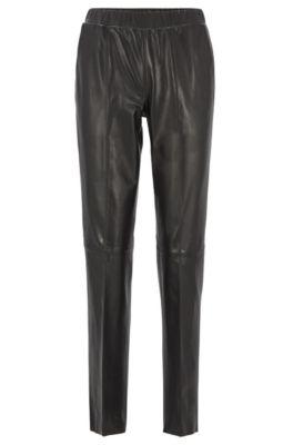 Pantalon en cuir à la coupe fuselée, Noir