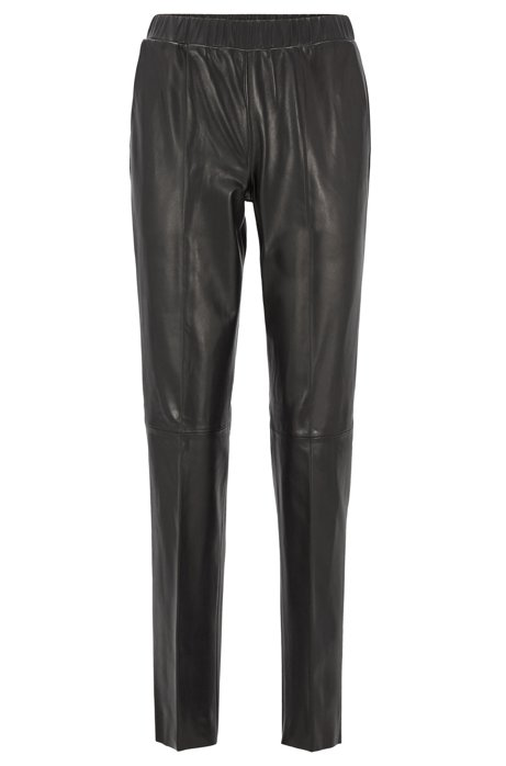 Leather trousers with tapered leg, Black