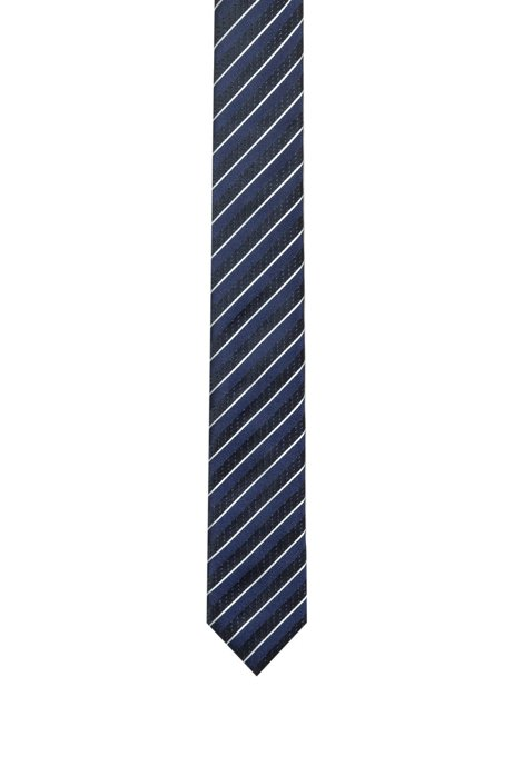 Silk-jacquard tie with diagonal stripe, Patterned