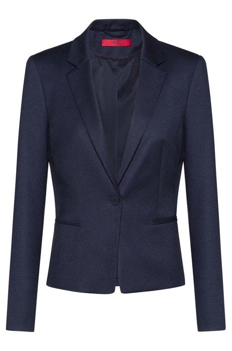 Chaqueta con cierre de un botón en lana virgen elástica, Azul oscuro