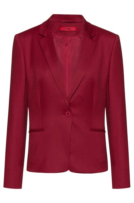 Single-button jacket in stretch virgin wool, Red