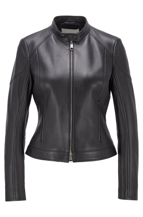 Regular-fit jacket in lamb leather with stand collar, Black