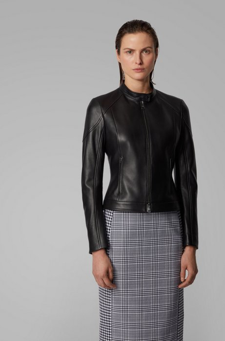 Regular-fit jas van lamsleer met opstaande kraag, Zwart