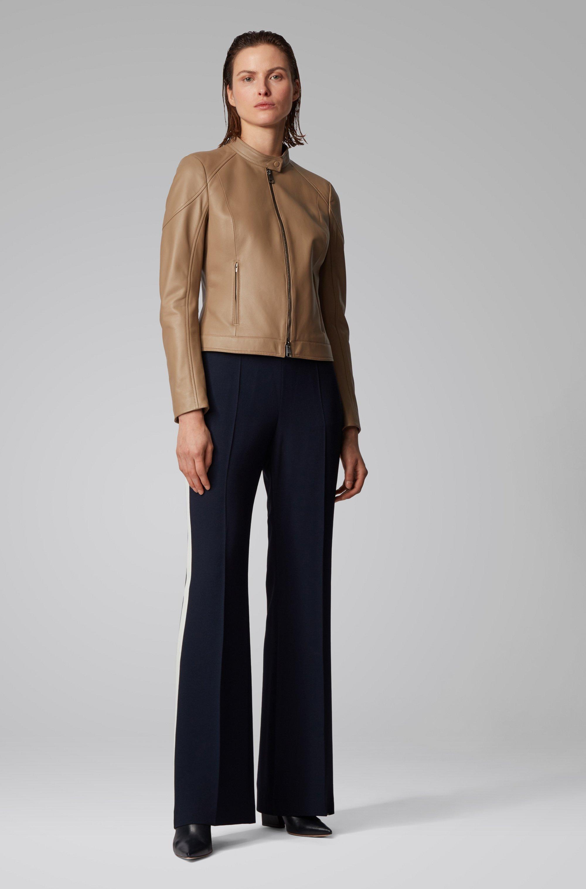 Regular-fit jas van lamsleer met opstaande kraag