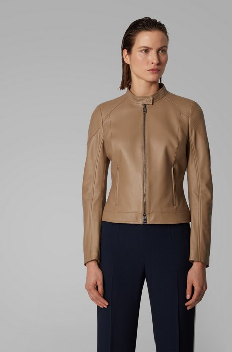 Regular-fit jacket in lamb leather with stand collar, Brown