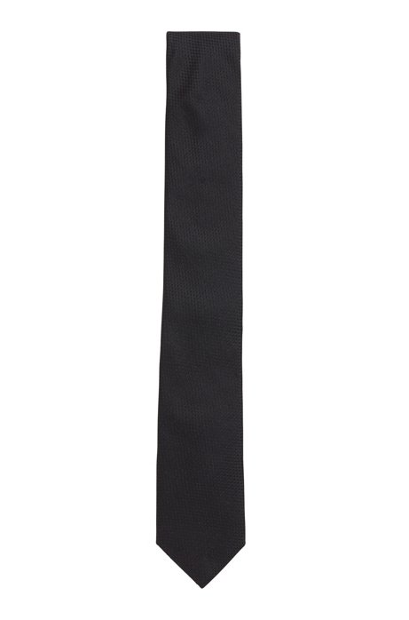 Silk tie with jacquard-woven structure, Black