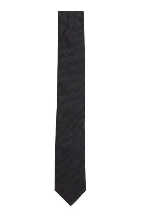 Krawatte aus strukturiertem Seiden-Jacquard, Schwarz