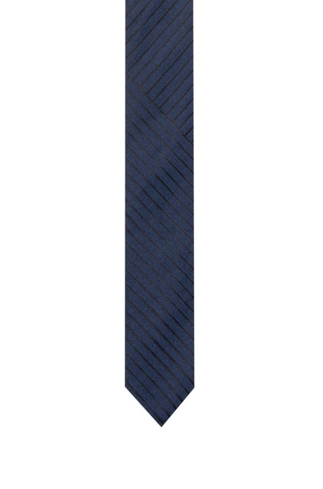 Silk-jacquard tie with disrupted stripes, Patterned