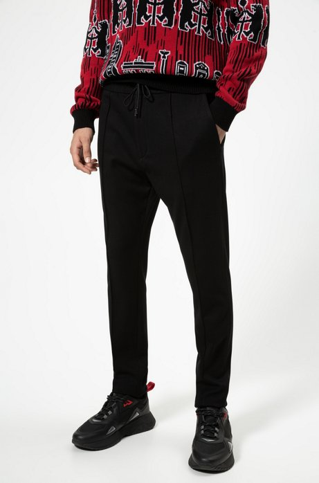 Tapered-fit trousers in jersey twill with drawcord, Black