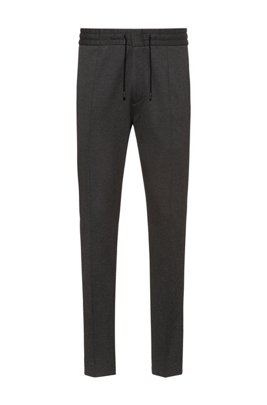 Tapered-fit trousers in jersey twill with drawcord, Dark Grey