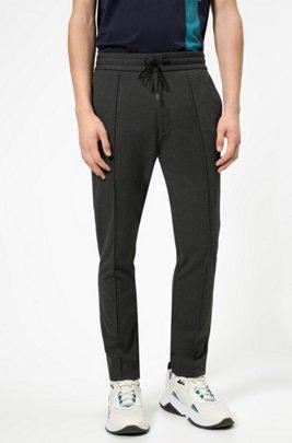 Pantalon Tapered Fit en jersey à la structure twill, avec cordon de serrage, Gris sombre
