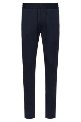 Pantalon Tapered Fit en jersey à la structure twill, avec cordon de serrage, Bleu foncé