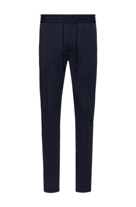 Tapered-fit trousers in jersey twill with drawcord, Dark Blue