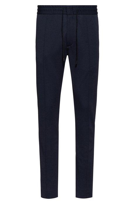Pantaloni con fit affusolato in twill di jersey con coulisse, Blu scuro