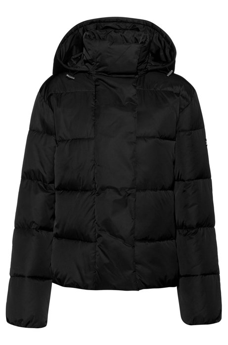 Hooded jacket with water-repellent finish, Black