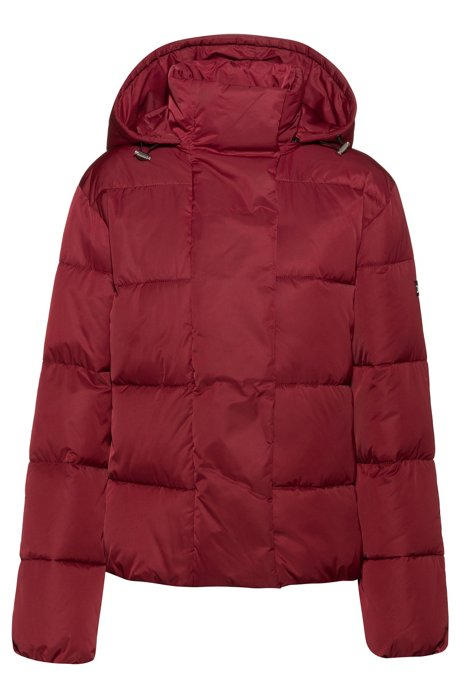 Hooded jacket with water-repellent finish, Dark Red
