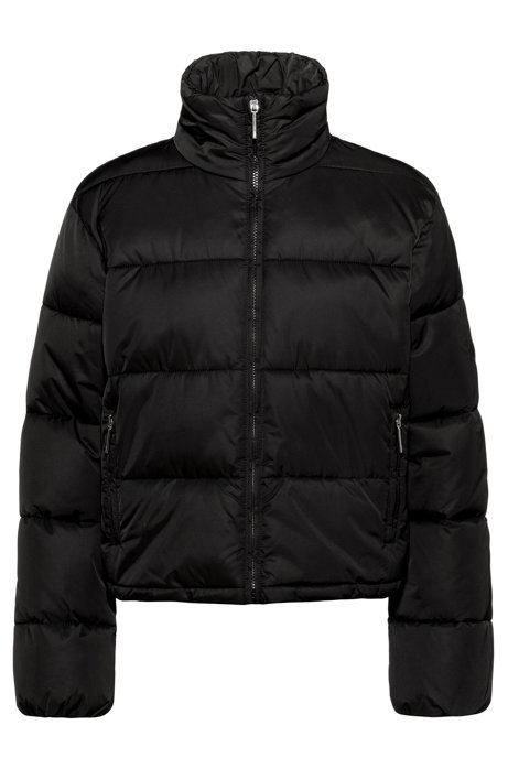 Cropped down jacket with water-repellent finish, Black