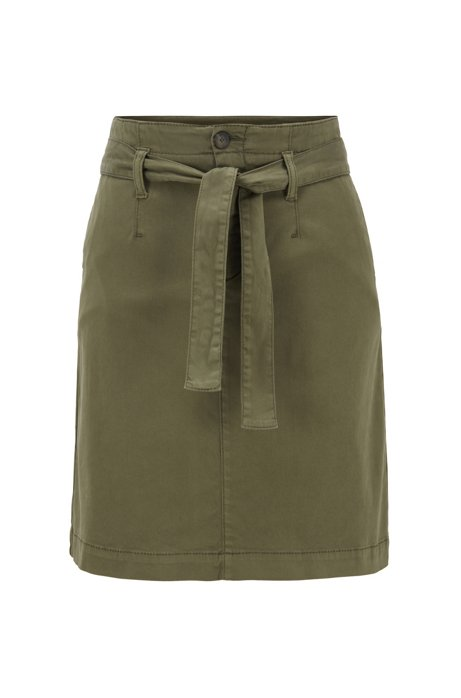 Chino-Rock aus Satin mit Bindegürtel, Khaki