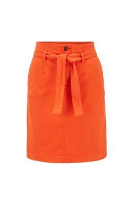 Jupe chino en satin de coton stretch avec ceinture à nouer, Orange