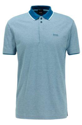 Poloshirt aus Baumwoll-Piqué mit feinem dreifarbigem Muster, Blau