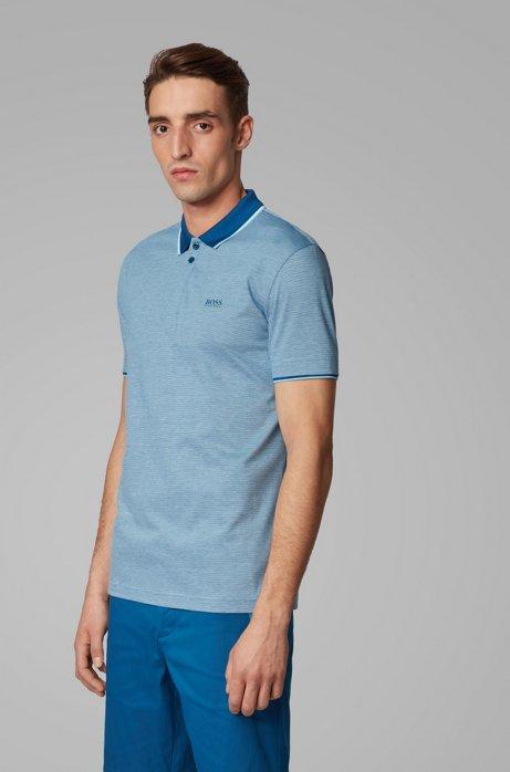 Polo en piqué de coton à micro motif tricolore, Bleu