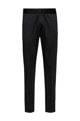 Tapered-fit trousers in micro-check jersey, Black