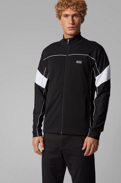 Zip-through sweatshirt in technical fabric with S.Café®, Black