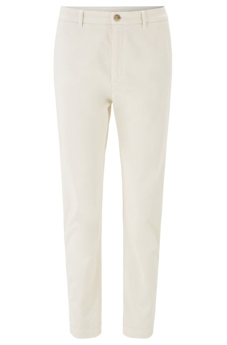 Relaxed-Fit Chino aus Stretch-Twill in Cropped-Länge, Natur