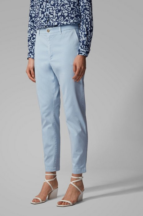 Chino court Relaxed Fit en twill stretch, Bleu vif
