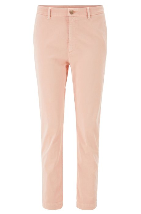 Relaxed-fit cropped chinos in stretch twill, Light Orange