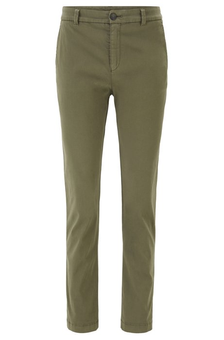 Regular-fit cropped chinos in stretch-cotton satin, Khaki