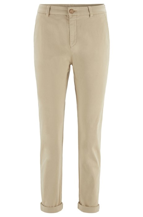 Regular-Fit Chino aus elastischer Baumwolle mit Satin-Finish in Cropped-Länge, Beige