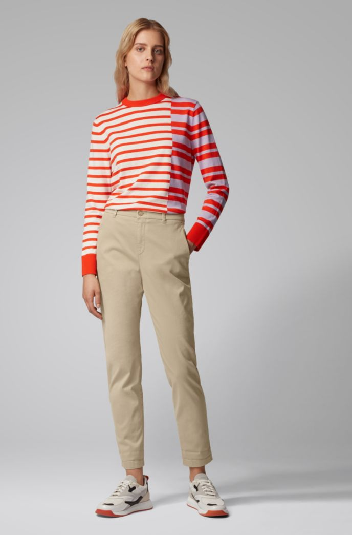 Regular-fit cropped chinos in stretch-cotton satin