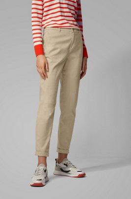 Regular-fit cropped chinos in stretch-cotton satin, Beige
