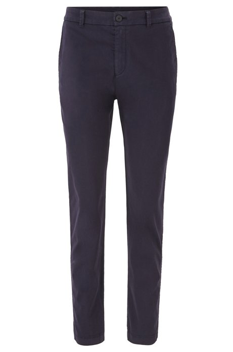 Chino court Regular Fit en satin de coton stretch, Bleu foncé
