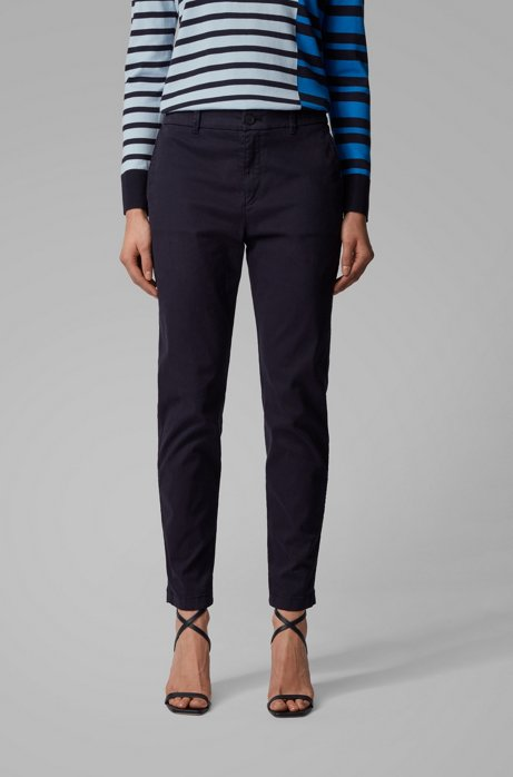 Regular-fit cropped chinos in stretch-cotton satin, Dark Blue