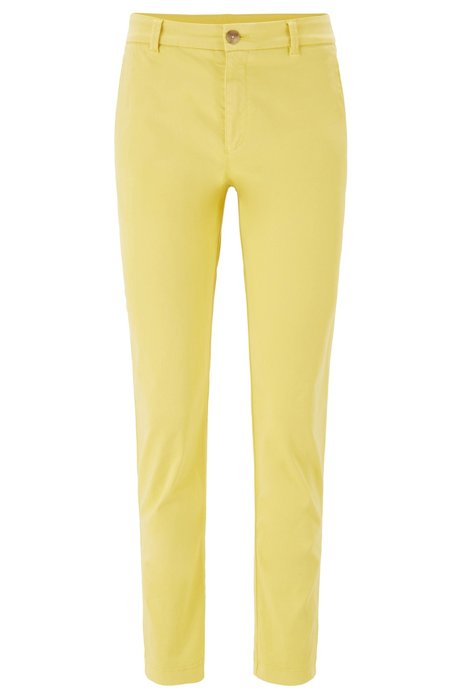 Chino court Regular Fit en satin de coton stretch, Jaune