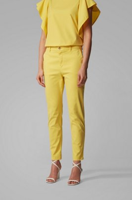 Regular-fit cropped chinos in stretch-cotton satin, イエロー