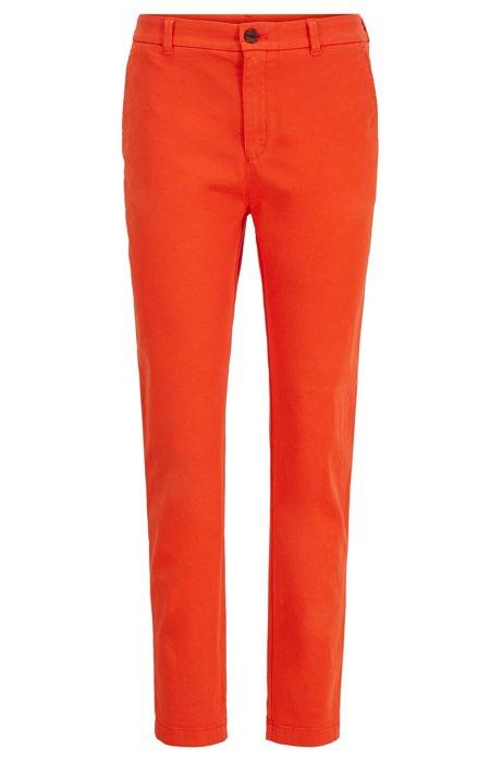 Regular-fit cropped chinos in stretch-cotton satin, Orange