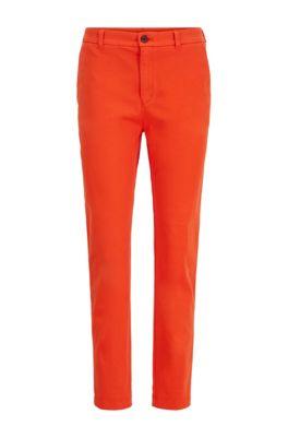 Regular-Fit Chino aus elastischer Baumwolle mit Satin-Finish in Cropped-Länge, Orange