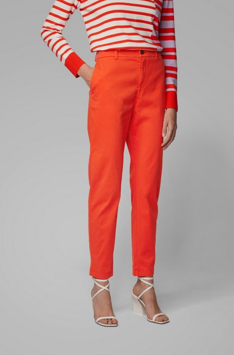 Chino court Regular Fit en satin de coton stretch, Orange