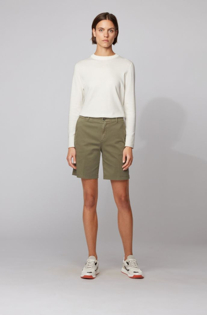 Regular-fit chino shorts in stretch cotton satin