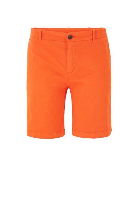 Short chino Regular Fit en coton stretch satiné, Orange
