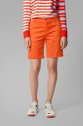 Regular-fit chino shorts in stretch cotton satin, Orange