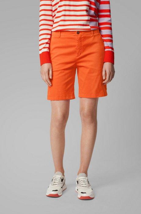 Regular-fit chinoshort van satijnzachte stretchkatoen, Oranje