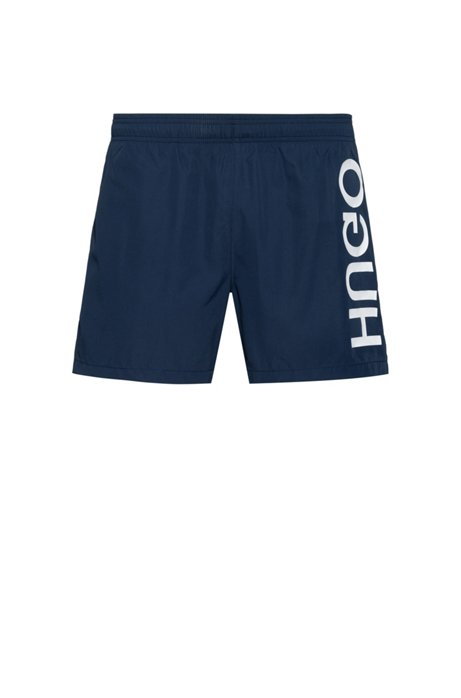 Quick-dry swim shorts with vertical reversed logo, Dark Blue