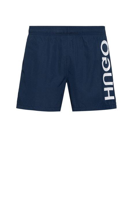 Quick-dry swim shorts with vertical reversed logo, Dark Blue