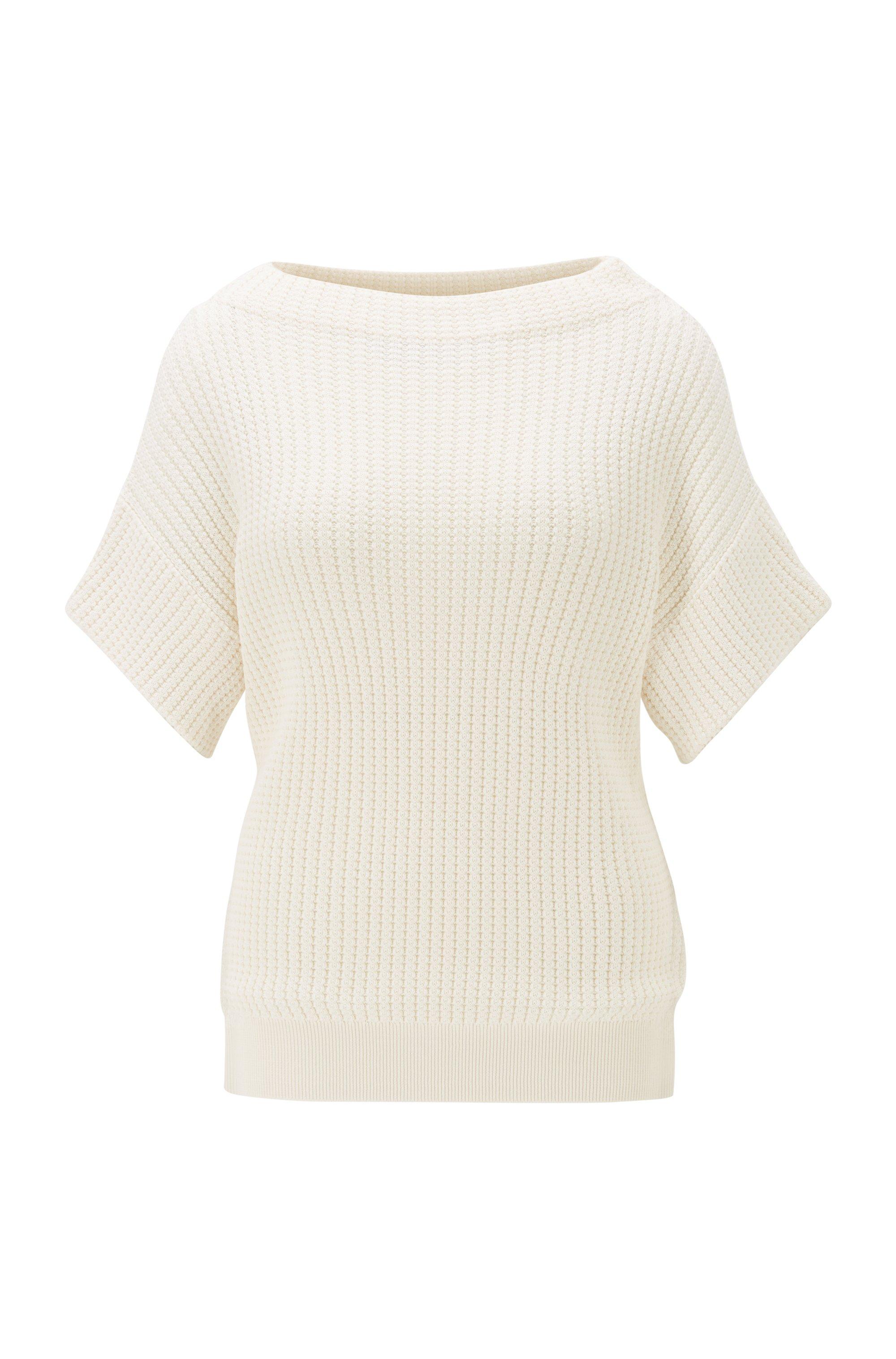 Maglione relaxed fit a maniche corte in cotone e seta, Bianco