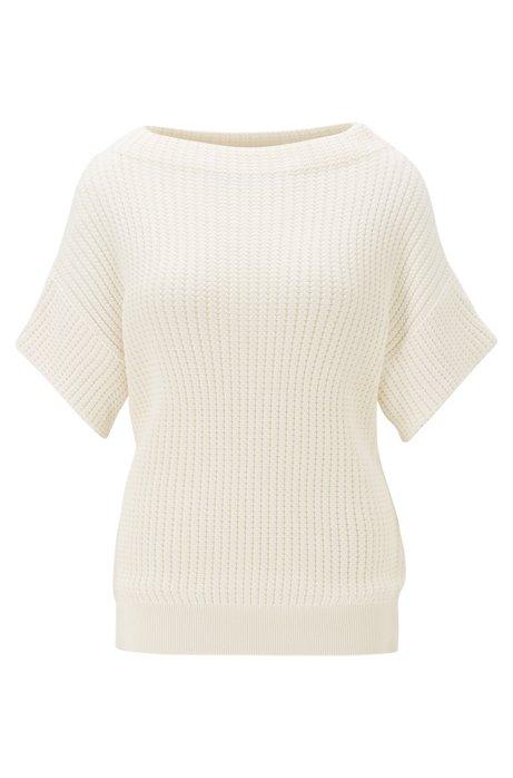 Relaxed-fit trui met korte mouwen van katoen met zijde, Naturel