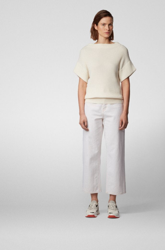 Relaxed-fit short-sleeved sweater in cotton with silk